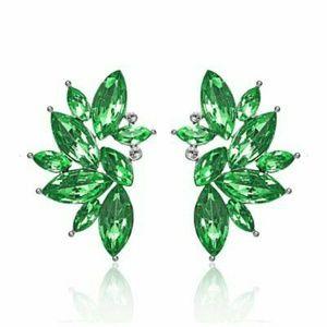 Green Angel Wing Earrings